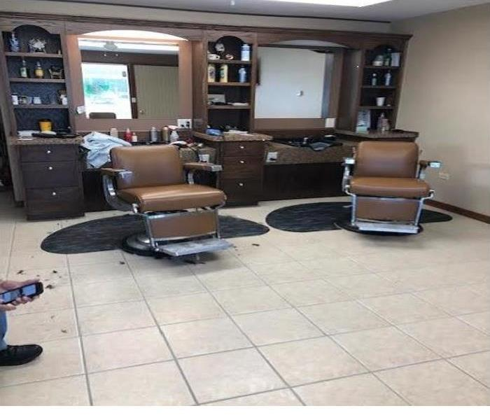 barber shop chairs on clean tile floor