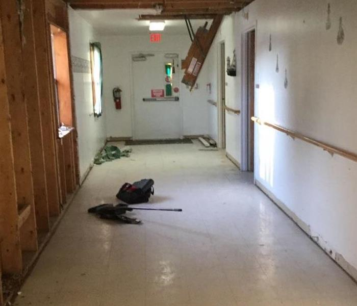 Nursing home hallway after SERVPRO mitigation